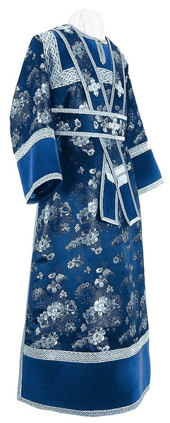 Subdeacon vestments - rayon Chinese brocade (blue-silver)