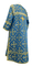 Clergy sticharion - Soloun rayon brocade S3 (blue-gold), back, Standard design