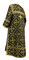 Clergy sticharion - Soloun rayon brocade S3 (black-gold), back, Standard design