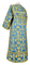 Clergy sticharion - Peacocks rayon brocade S4 (blue-gold) back, Standard design
