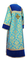 Clergy sticharion - Bouquet rayon brocade S4 (blue-gold) with velvet inserts, back, Standard design