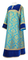 Clergy sticharion - Bouquet rayon brocade S4 (blue-gold) with velvet inserts, Standard design