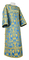 Clergy sticharion - Peacocks rayon brocade S4 (blue-gold), Standard design