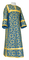 Clergy sticharion - Cappadocia rayon brocade S4 (blue-gold), Economy design