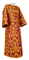 Clergy sticharion - Peacocks rayon brocade S4 (claret-gold), Standard design