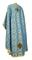 Greek Priest vestments - Vasilia metallic brocade B (blue-gold) back, Economy design