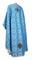 Greek Priest vestments - Vasilia metallic brocade B (blue-silver) back, Economy design