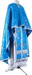 Greek Priest vestment -  metallic brocade B (blue-silver)