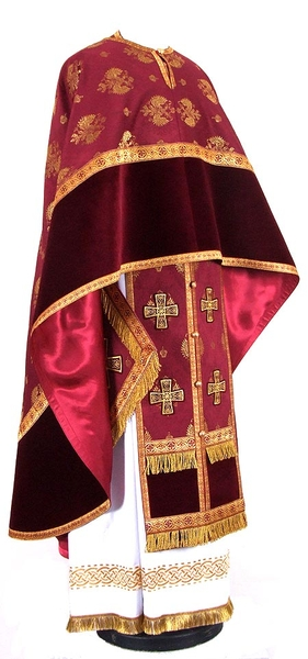 Greek Priest vestment -  metallic brocade B (claret-gold)