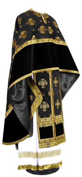 Greek Priest vestment -  metallic brocade B (black-gold)