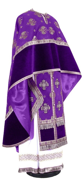 Greek Priest vestment -  metallic brocade B (violet-silver)