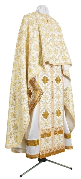 Greek Priest vestment -  metallic brocade B (white-gold)