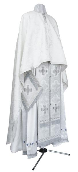 Greek Priest vestment -  metallic brocade B (white-silver)