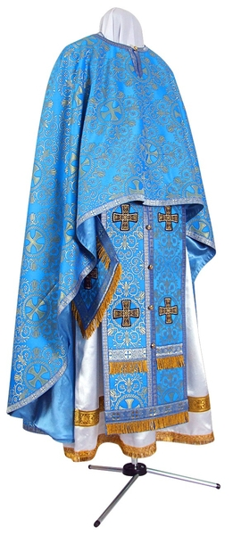 Greek Priest vestment -  metallic brocade BG1 (blue-gold)
