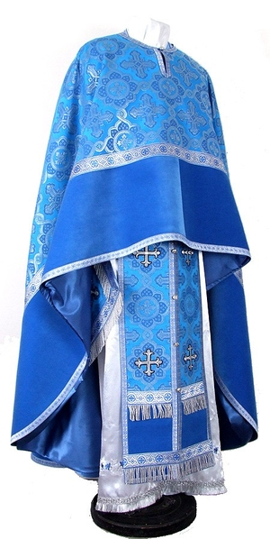 Greek Priest vestment -  metallic brocade BG1 (blue-silver)