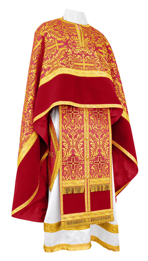 Greek Priest vestment -  metallic brocade BG1 (claret-gold)