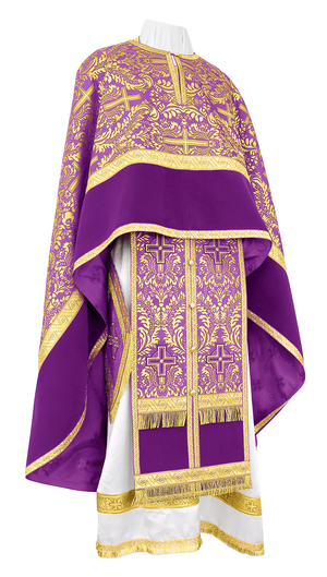 Greek Priest vestment -  metallic brocade BG1 (violet-gold)