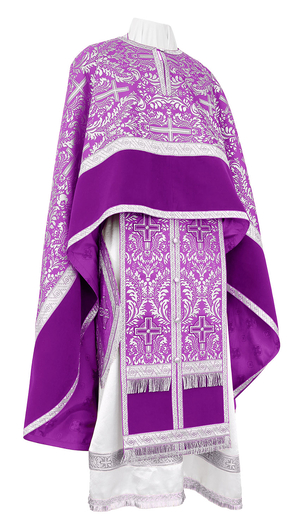 Greek Priest vestment -  metallic brocade BG1 (violet-silver)