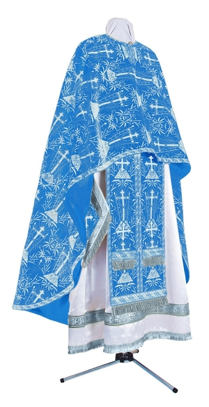 Greek Priest vestment -  metallic brocade BG2 (blue-silver)