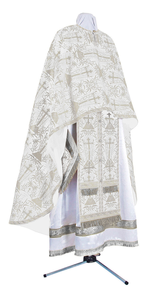 Greek Priest vestment -  metallic brocade BG2 (white-silver)