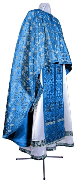 Greek Priest vestment -  metallic brocade BG3 (blue-silver)
