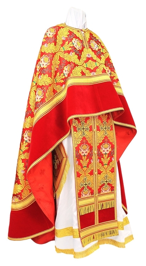 Greek Priest vestment -  metallic brocade BG3 (red-gold)