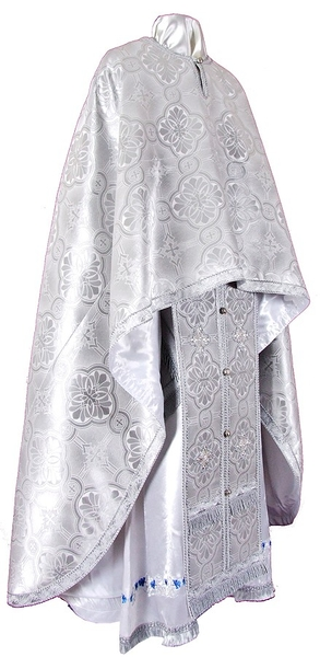 Greek Priest vestment -  metallic brocade BG3 (white-silver)