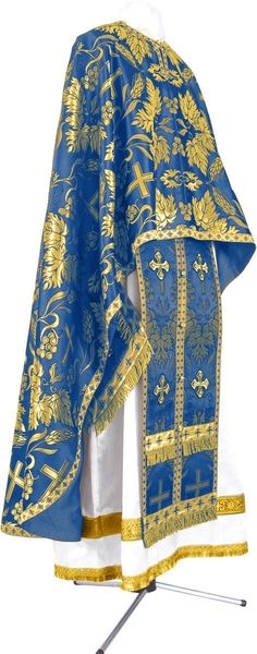 Greek Priest vestment -  metallic brocade BG4 (blue-gold)