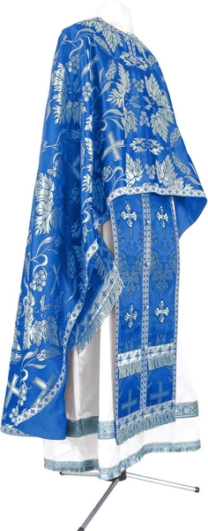Greek Priest vestment -  metallic brocade BG4 (blue-silver)