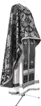 Greek Priest vestment -  metallic brocade BG4 (black-silver)