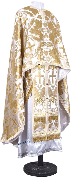 Greek Priest vestment -  metallic brocade BG4 (white-gold)