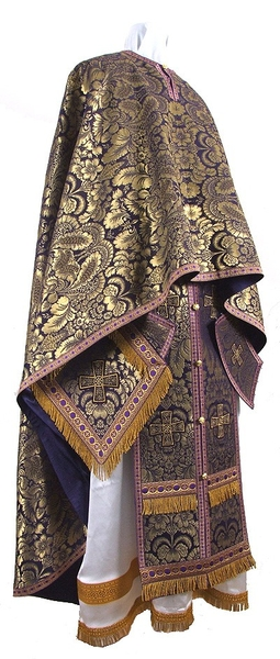Greek Priest vestment -  metallic brocade BG5 (violet-gold)