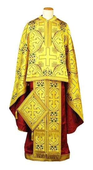 Greek Priest vestment -  metallic brocade BG6 (yellow-claret-gold)