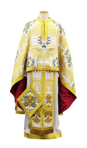Greek Priest vestment -  metallic brocade BG6 (white-gold)