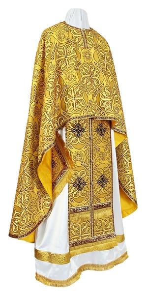 Greek Priest vestment -  rayon brocade S2 (yellow-claret-gold)