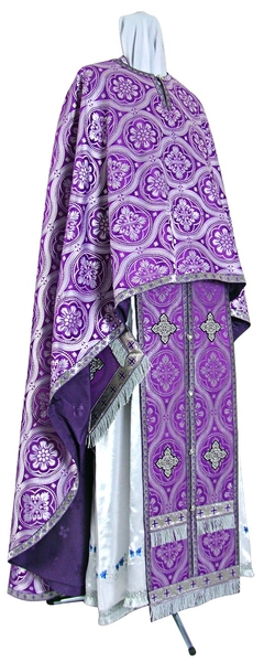 Greek Priest vestment -  rayon brocade S2 (violet-silver)