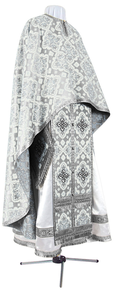 Greek Priest vestment -  rayon brocade S2 (white-silver)