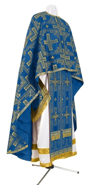 Greek Priest vestment -  rayon brocade S3 (blue-gold)