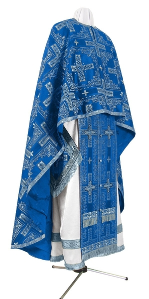 Greek Priest vestment -  rayon brocade S3 (blue-silver)