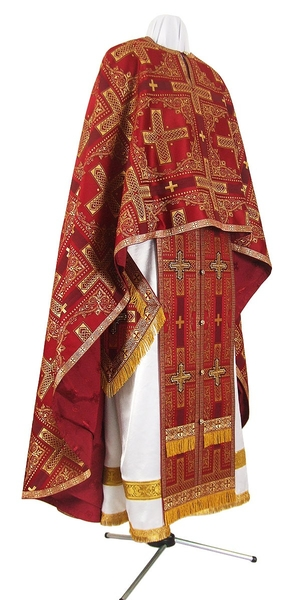 Greek Priest vestment -  rayon brocade S3 (claret-gold)
