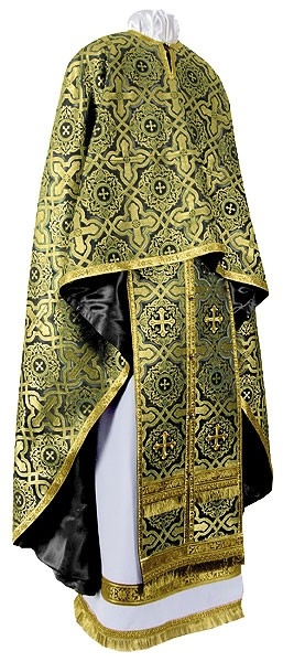 Greek Priest vestment -  rayon brocade S3 (black-gold)