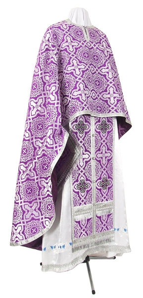 Greek Priest vestment -  rayon brocade S3 (violet-silver)