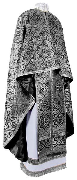Greek Priest vestment -  rayon brocade S3 (black-silver)
