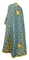 Greek Priest vestments - Cappadocia rayon brocade S4 (blue-gold) back, Standard design