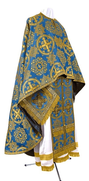 Greek Priest vestment -  rayon brocade S4 (blue-gold)