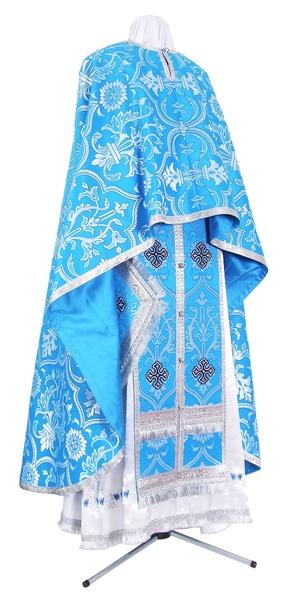 Greek Priest vestment -  rayon brocade S4 (blue-silver)