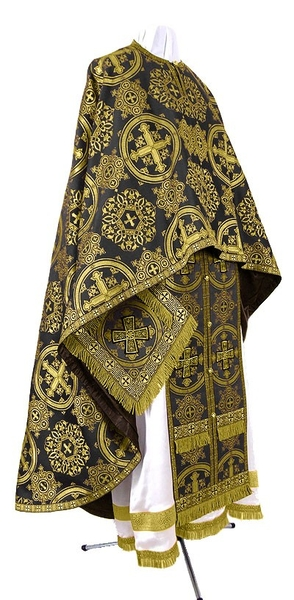 Greek Priest vestment -  rayon brocade S4 (black-gold)