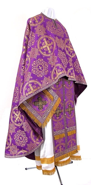 Greek Priest vestment -  rayon brocade S4 (violet-gold)