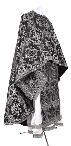 Greek Priest vestment -  rayon brocade S4 (black-silver)