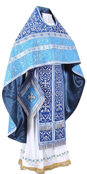 Embroidered Russian Priest vestments - Wattled (blue-silver)